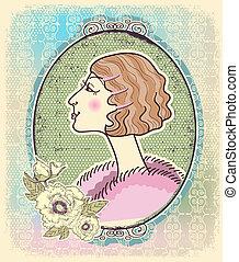 kobieta, romantyk, rocznik wina, ilustracja, frame.vector, portret