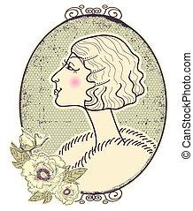 kobieta, romantyk, rocznik wina, ułożyć, tło, portret, biały