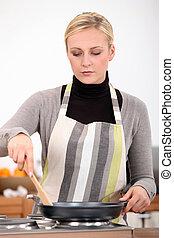 kobieta, rondel, kuchnia