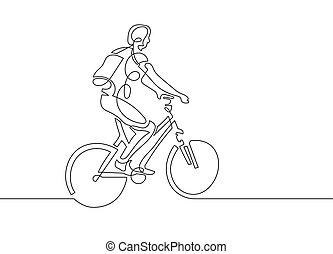 kobieta, rower, ciągły, młody, jeden, jeżdżenie, kreskówka