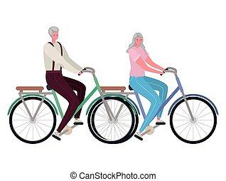 kobieta, rower, człowiek, jeżdżenie, senior, wektor, projektować