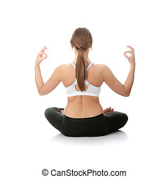 kobieta, ruch, młody, yoga, piękny