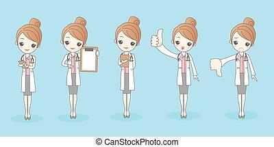 kobieta, rysunek, doktor