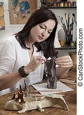 kobieta, rzeźbiarstwo, kształtowanie, glina