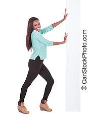 kobieta, rzutki, zaufany, amerykanka, afrykanin, tablica ogłoszeń