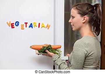 kobieta, słowo, warzywa, młody, lodówka, to, dzierżawa, przód, wegetarianin