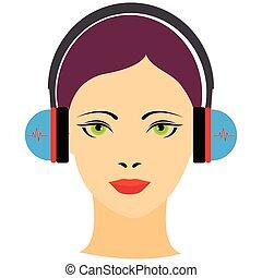 kobieta, słuchawki