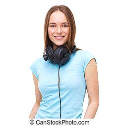 kobieta, słuchawki, -, odizolowany, młody, white., portret