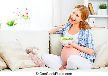 kobieta, sałata, brzemienny, zdrowy, jedzenie, jadło, roślina, szczęśliwy