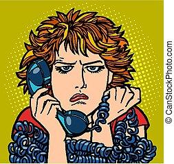 kobieta, sad., rozmowa, ludzki, emotion., telefon, ...