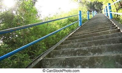 kobieta, schody, wspinaczkowy, wycieczkowicz