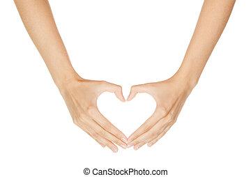 kobieta, serce, znak, zrobienie, tło, odizolowany, ręka, ...