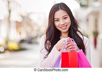 kobieta shopping, asian