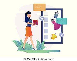 kobieta shopping, concept., shopping., online, szczęśliwy