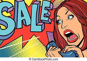 kobieta shopping, krzyki, telefon, sprzedaż, season.