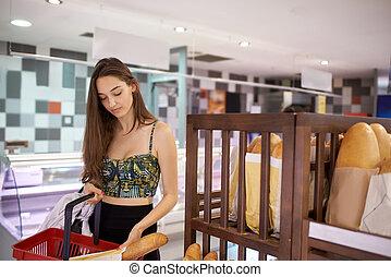 kobieta shopping, młody, supermarket