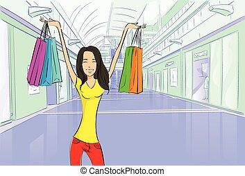 kobieta shopping, mnóstwo, nowoczesny, luksus, sklep, mall