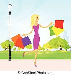 kobieta shopping, mnóstwo, pieszy, park, na wolnym powietrzu, wektor
