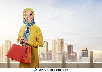 kobieta shopping, muslim, młody, asian, czas, cieszący się
