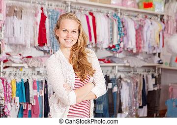 kobieta shopping, odzież