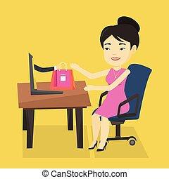 kobieta shopping, online, wektor, illustration.