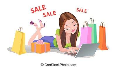 kobieta shopping, podłoga, internet, online, bads, szczęśliwy