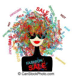 kobieta shopping, pojęcie, projektować, miłość, fason, twój, sale!