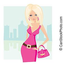 kobieta shopping, sexy, sprytny, torba