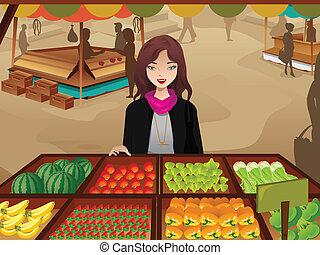 kobieta shopping, targ, gospodarze