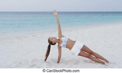 kobieta, siła, żyjący, deska, trening, owocnia, stosowność, bok, zdrowy, czynny lifestyle
