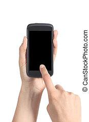 kobieta, siła robocza, dotykanie, ruchomy, do góry, palec, telefon, zamknięcie, ekran, jej