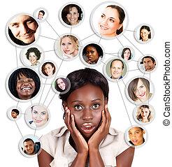 kobieta, sieć, handlowy, afrykanin, amercian, towarzyski