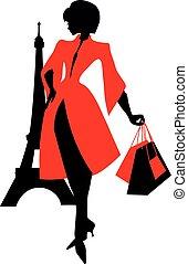 kobieta, silhouette., eiffel, elegancki, tower., piękny