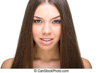 kobieta, skóra, piękno, młody, zdrowie, twarz, czysty, piękny