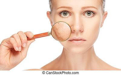 kobieta, skóra, przed, szkło powiększające, skincare., pojęcie, po