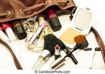 kobieta, skóra, szczotki, torba, kosmetyki, narzędzia