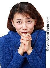 kobieta, składany, jej, podaje modlitwę