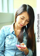 kobieta, smartphone, asian, używając