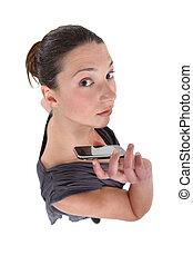 kobieta, smartphone, ręka
