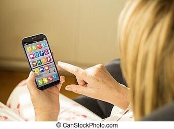 kobieta, smartphone, technologia