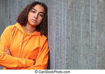 kobieta, smutny, mieszany, amerykanka, prąd, nastolatek, hoodie, afrykanin, pomarańcza