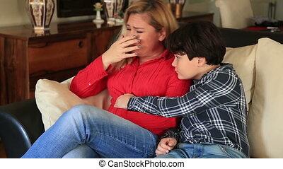 kobieta, smutny, syn