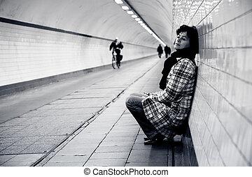 kobieta, smutny