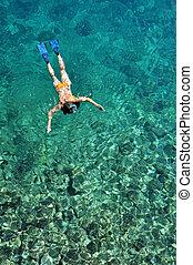 kobieta, snorkeling, morze