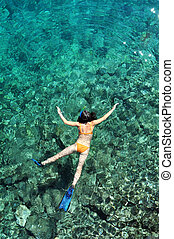 kobieta, snorkeling, nad, prospekt morza