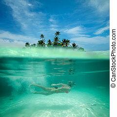 kobieta, snorkeling