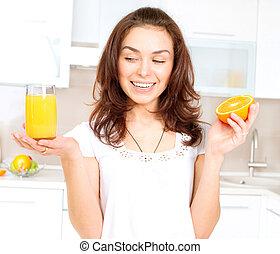 kobieta, sok pomarańczowy, młody, zdrowy, kuchnia
