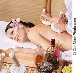 kobieta, spa., piękno, młody, stół, masaż