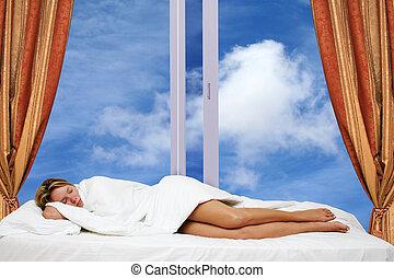 kobieta, spanie, przez, okno