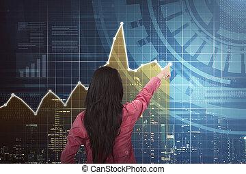 kobieta spoinowanie, handlowy, wykres, wstecz, asian, prospekt
